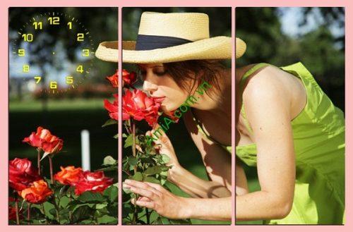 Tranh treo tường phòng khách, phòng ngủ Người đẹp và hoa