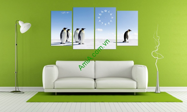 Tranh treo tường phòng khách, phòng trẻ em Chim cánh cụt-01