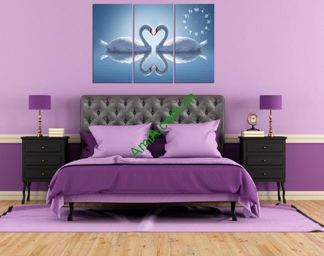 Tranh treo tường phòng ngủ Đôi Chim Thiên Nga Amia 162-01