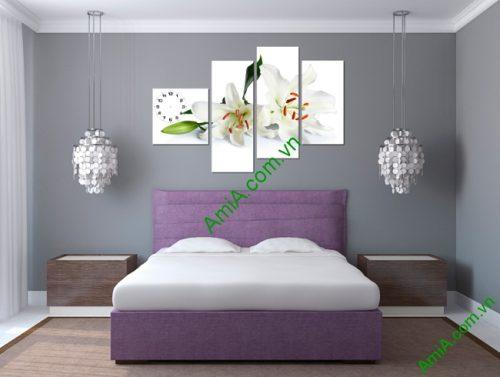 Tranh treo tường phòng ngủ, phòng khách hiện đại hoa Ly-02