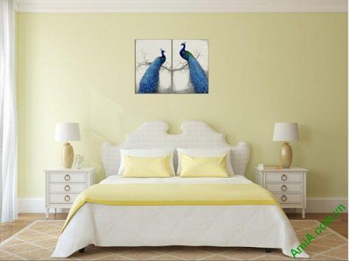 Tranh treo tường phòng ngủ vợ chồng Đôi Chim Công Amia 417-01