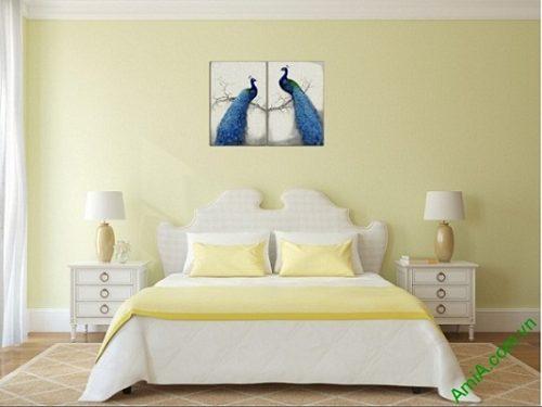 Tranh treo tường phòng ngủ vợ chồng Đôi Chim Công Amia 417-00