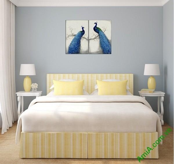 Tranh treo tường phòng ngủ vợ chồng Đôi Chim Công Amia 417-02