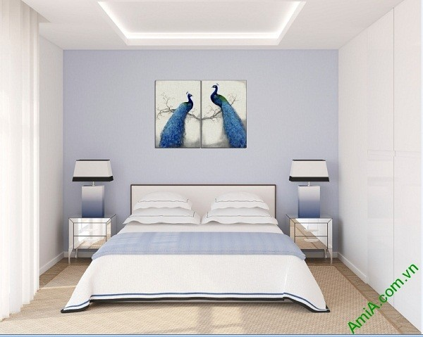 Tranh treo tường phòng ngủ vợ chồng Đôi Chim Công Amia 417-03