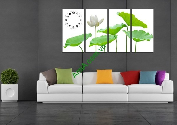 Tranh treo tường sang trọng hoa Sen ghép bộ 4 tấm Amia 170-01