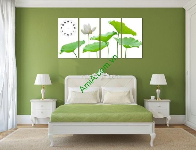 Tranh treo tường sang trọng hoa Sen ghép bộ 4 tấm Amia 170-02