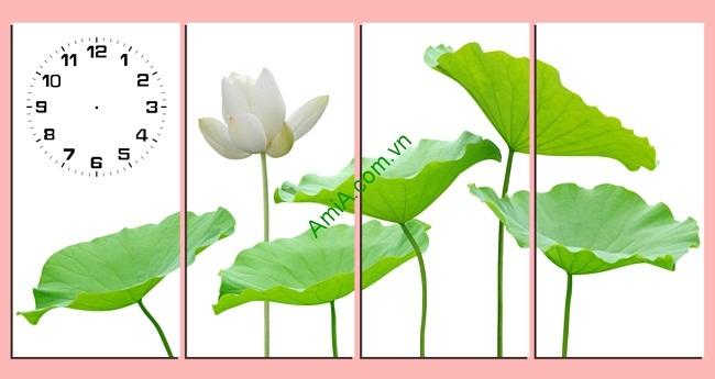 Tranh treo tường sang trọng hoa Sen ghép bộ 4 tấm Amia 170