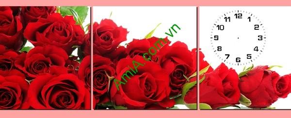Tranh đồng hồ treo tường Hoa Hồng ghép bộ 3 tấm Amia 181