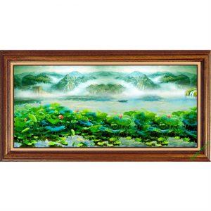 Tranh treo tường phòng khách khổ lớn phong cảnh Đầm Sen-00