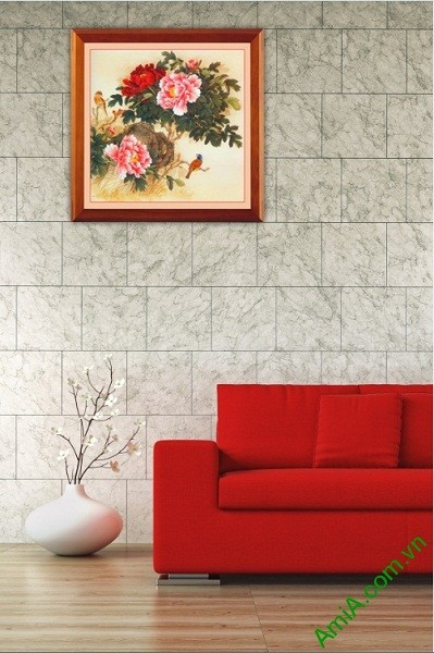 Tranh treo tường hoa Mẫu Đơn in giả sơn dầu Amia 419-01