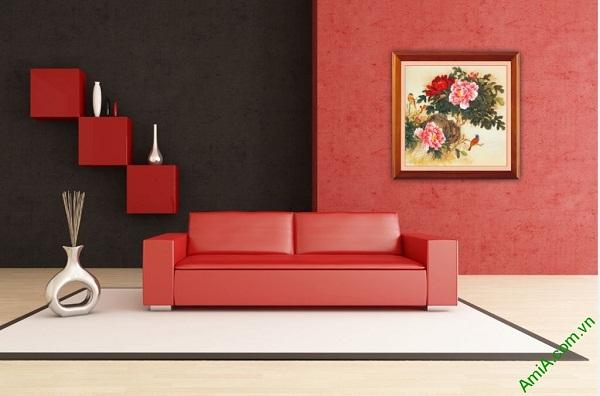 Tranh treo tường hoa Mẫu Đơn in giả sơn dầu Amia 419-02