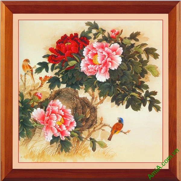 Tranh treo tường hoa Mẫu Đơn in giả sơn dầu Amia 419