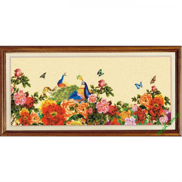 Tranh treo tường in giả sơn dầu Chim Công hoa Mẫu Đơn-00