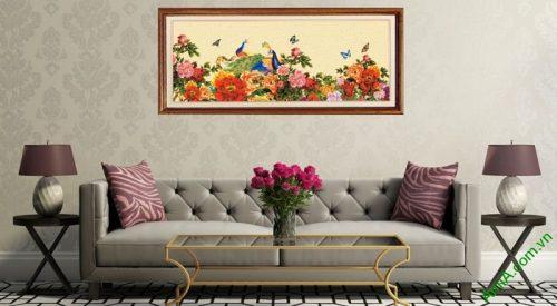 Tranh treo tường in giả sơn dầu Chim Công hoa Mẫu Đơn-01