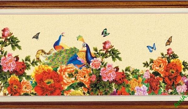Tranh treo tường in giả sơn dầu Chim Công hoa Mẫu Đơn