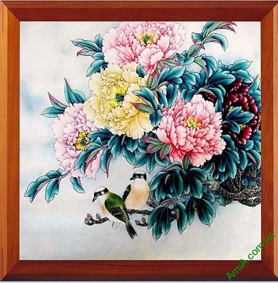 Tranh treo tường in giả sơn dầu hoa Mẫu Đơn Amia 418-00
