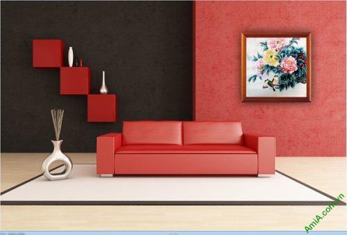 Tranh treo tường in giả sơn dầu hoa Mẫu Đơn Amia 418-01
