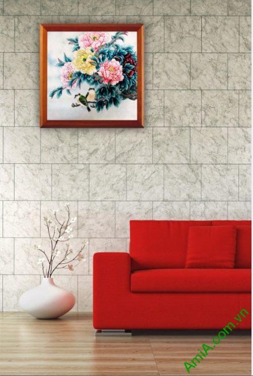 Tranh treo tường in giả sơn dầu hoa Mẫu Đơn Amia 418-03