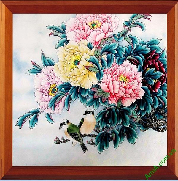 Tranh treo tường in giả sơn dầu hoa Mẫu Đơn Amia 418
