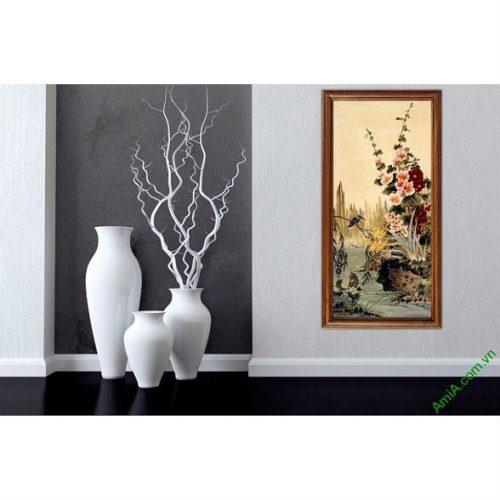 Tranh treo tường in giả sơn dầu khóm hoa Amia 423-00