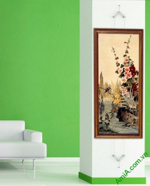 Tranh treo tường in giả sơn dầu khóm hoa Amia 423-01