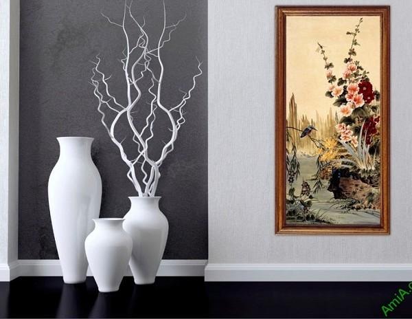 Tranh treo tường in giả sơn dầu khóm hoa Amia 423-02