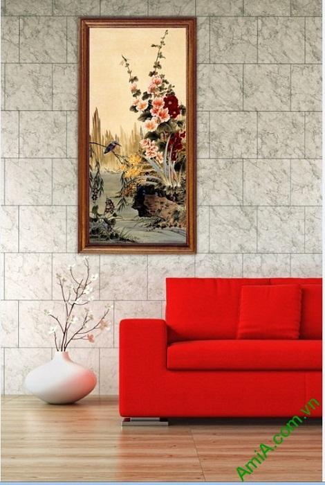 Tranh treo tường in giả sơn dầu khóm hoa Amia 423-03