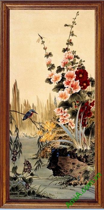 Tranh treo tường in giả sơn dầu khóm hoa Amia 423