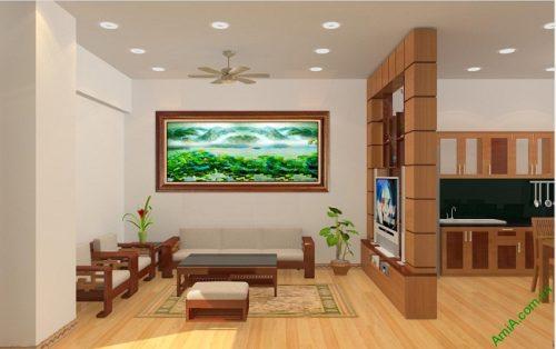 Tranh treo tường phòng khách khổ lớn phong cảnh Đầm Sen-01