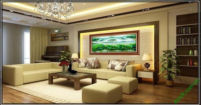 Tranh treo tường phòng khách khổ lớn phong cảnh Đầm Sen-02
