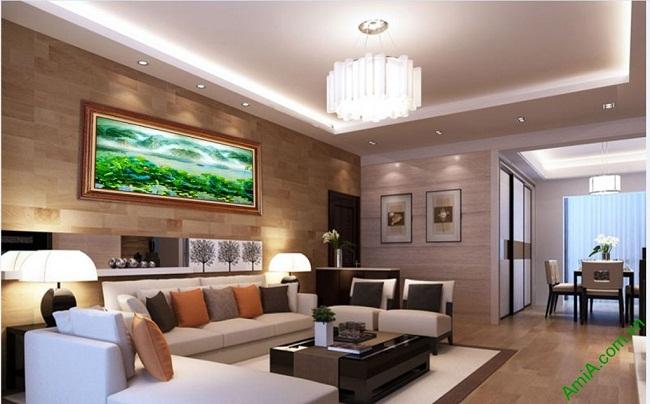 Tranh treo tường phòng khách khổ lớn phong cảnh Đầm Sen-03