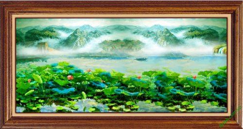 Tranh treo tường phòng khách khổ lớn phong cảnh Đầm Sen
