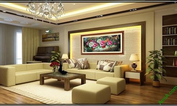 Tranh treo tường phòng khách, phòng ngủ hoa Mẫu Đơn-02