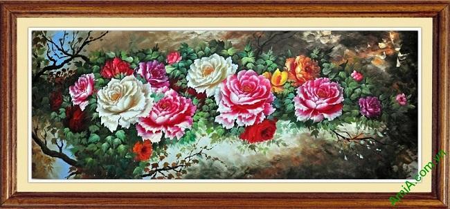 Tranh treo tường phòng khách, phòng ngủ hoa Mẫu Đơn