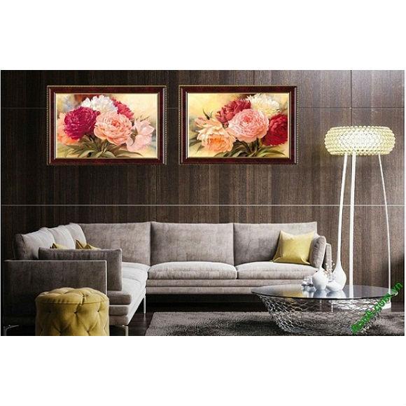 Tranh hoa mẫu đơn treo tường phòng khách 2 tấm Amia 425-00