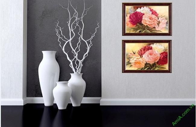 Tranh hoa mẫu đơn treo tường phòng khách 2 tấm Amia 425-01