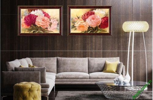 Tranh hoa mẫu đơn treo tường phòng khách 2 tấm Amia 425-02