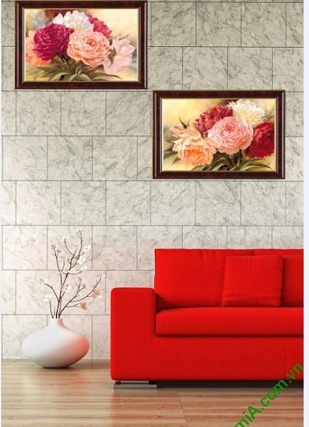 Tranh hoa mẫu đơn treo tường phòng khách 2 tấm Amia 425-03