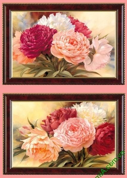 Tranh hoa mẫu đơn treo tường phòng khách 2 tấm Amia 425