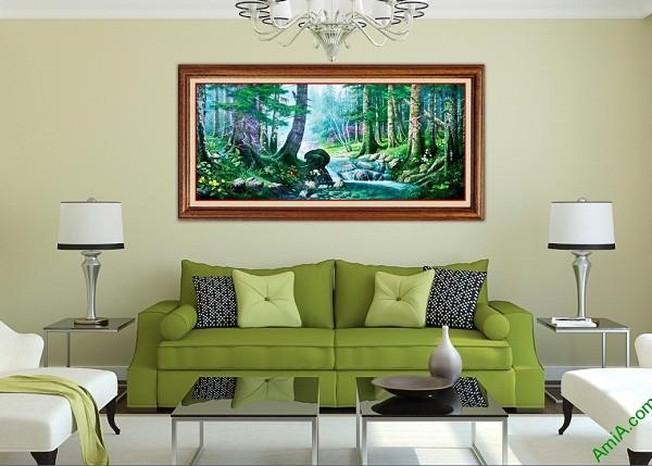 Tranh phong cảnh treo tường in giả sơn dầu Amia 430-01