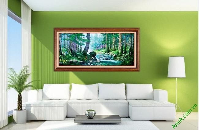 Tranh phong cảnh treo tường in giả sơn dầu Amia 430-02