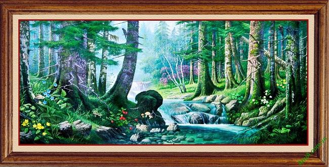 Tranh phong cảnh treo tường in giả sơn dầu Amia 430