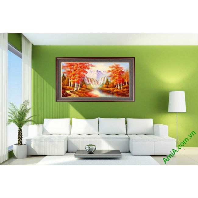Tranh phong cảnh treo tường mùa thu in giả sơn dầu Amia 431-00