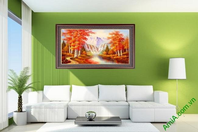 Tranh phong cảnh treo tường mùa thu in giả sơn dầu Amia 431-01