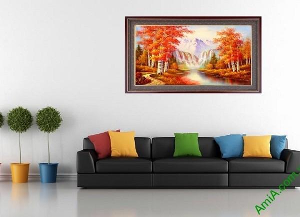 Tranh phong cảnh treo tường mùa thu in giả sơn dầu Amia 431-02