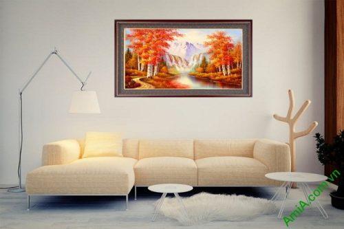 Tranh phong cảnh treo tường mùa thu in giả sơn dầu Amia 431-03