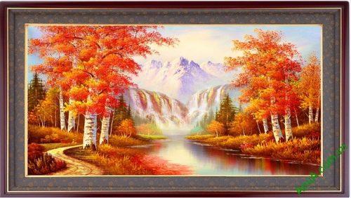 Tranh phong cảnh treo tường mùa thu in giả sơn dầu Amia 431