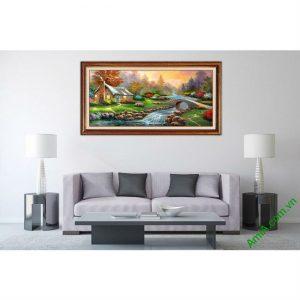 Tranh phong cảnh treo tường phòng khách in giả sơn dầu-00