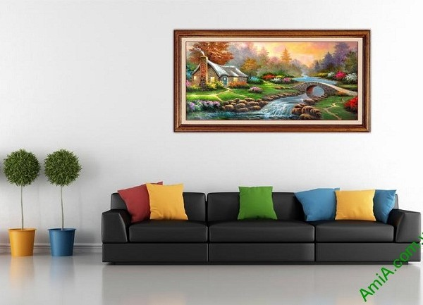 Tranh phong cảnh treo tường phòng khách in giả sơn dầu-01