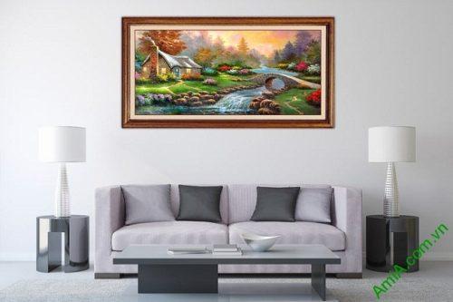 Tranh phong cảnh treo tường phòng khách in giả sơn dầu-02